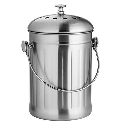 Chef's Star Stainless Steel Premium Compost Bin with Charcoal Filter - 0.6 Gallon