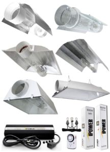 HID grow light - selection of different reflector hoods