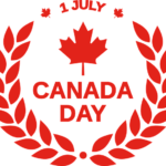 Happy Canada Day - maple leaf logo